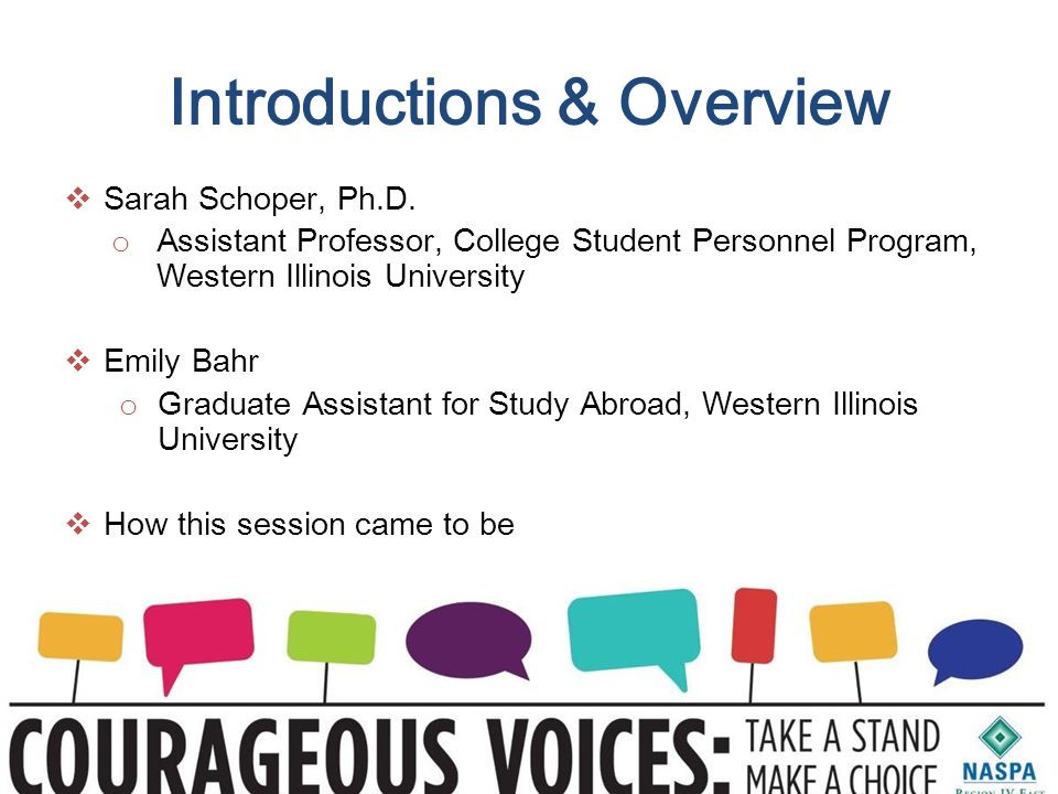 Introductions & Overview  Sarah Schoper, Ph.D.