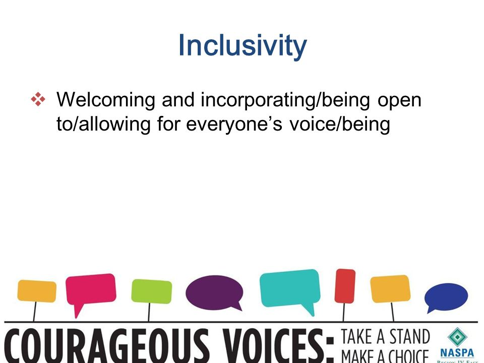 Inclusivity  Welcoming and incorporating/being open to/allowing for everyone's voice/being