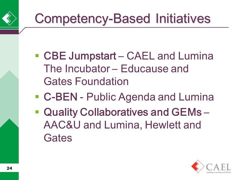  CBE Jumpstart – CAEL and Lumina The Incubator – Educause and Gates Foundation  C-BEN - Public Agenda and Lumina  Quality Collaboratives and GEMs – AAC&U and Lumina, Hewlett and Gates 24 Competency-Based Initiatives