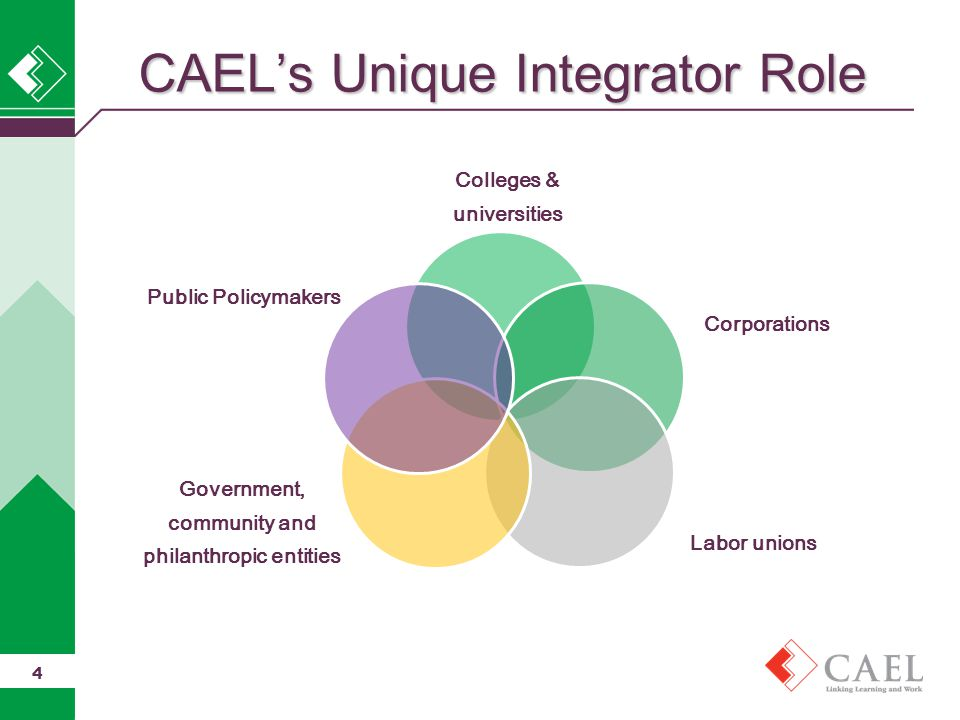 CAEL's Unique Integrator Role Colleges & universities Corporations Labor unions Government, community and philanthropic entities Public Policymakers 4
