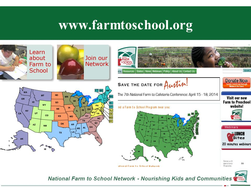 National Farm to School Network - Nourishing Kids and Communities www.farmtoschool.org
