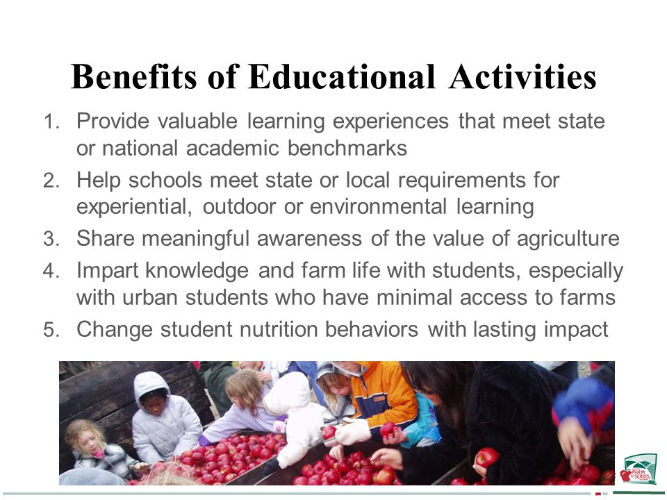 National Farm to School Network - Nourishing Kids and Communities Benefits of Educational Activities 1.