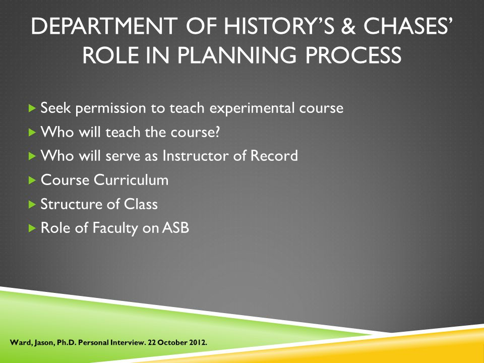 DEPARTMENT OF HISTORY'S & CHASES' ROLE IN PLANNING PROCESS  Seek permission to teach experimental course  Who will teach the course.