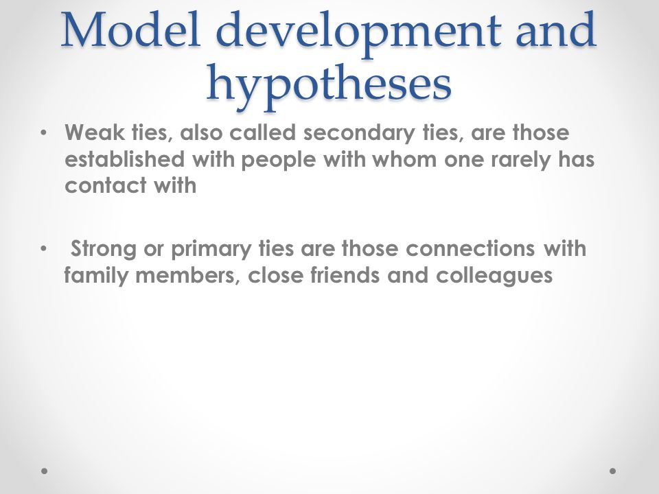 Model development and hypotheses