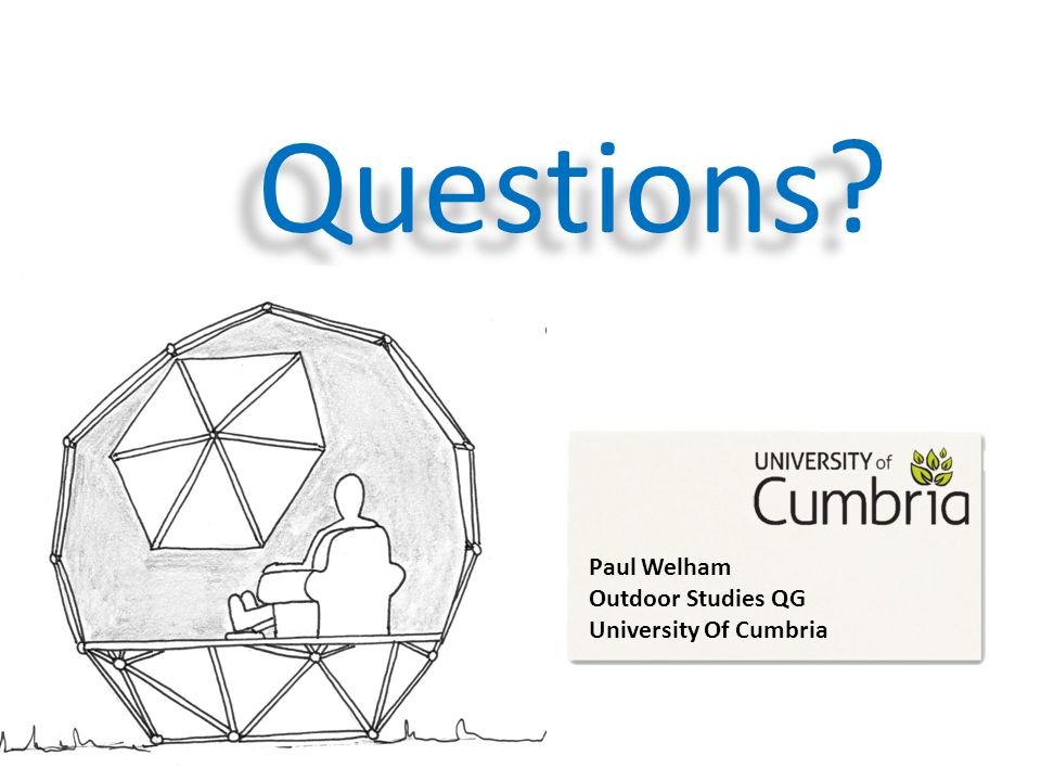 Questions? Paul Welham Outdoor Studies QG University Of Cumbria