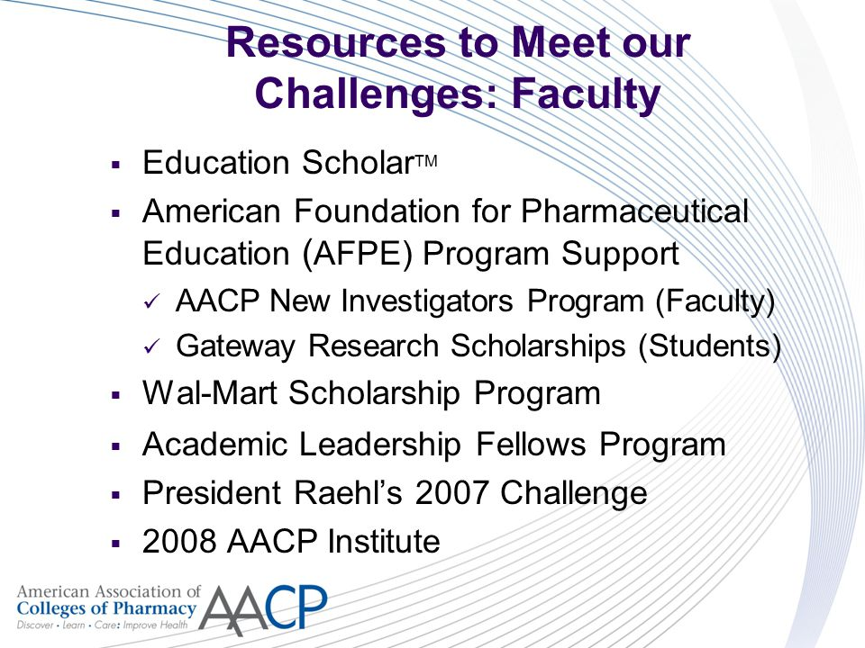 Resources to Meet our Challenges: Faculty  Education Scholar TM  American Foundation for Pharmaceutical Education ( AFPE) Program Support AACP New Investigators Program (Faculty) Gateway Research Scholarships (Students)  Wal-Mart Scholarship Program  Academic Leadership Fellows Program  President Raehl's 2007 Challenge  2008 AACP Institute