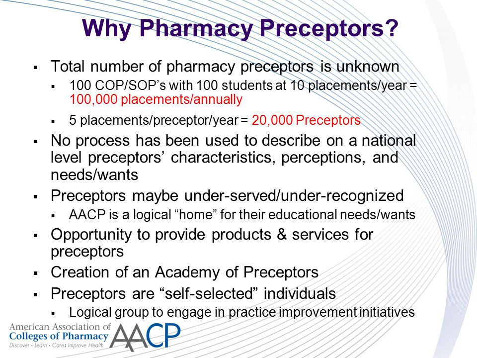 Why Pharmacy Preceptors?  Total number of pharmacy preceptors is unknown  100 COP/SOP's with 100 students at 10 placements/year = 100,000 placements