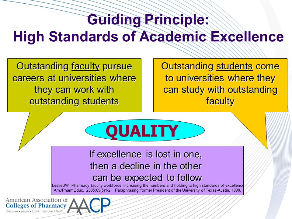 Guiding Principle: High Standards of Academic Excellence Outstanding students come to universities where they can study with outstanding faculty Outst