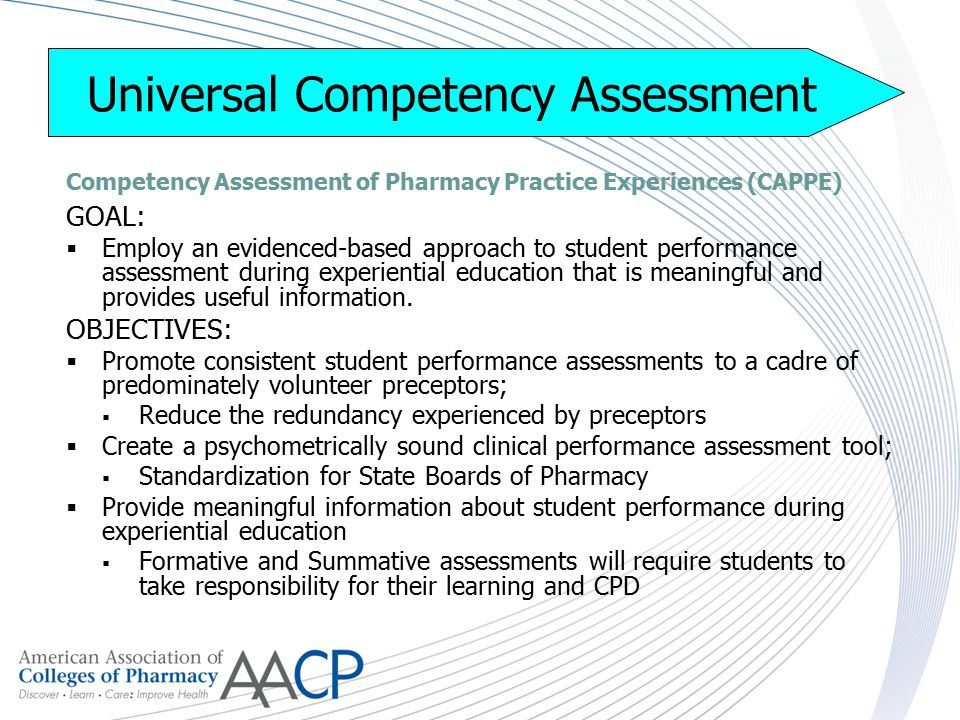 Universal Competency Assessment Competency Assessment of Pharmacy Practice Experiences (CAPPE) GOAL:  Employ an evidenced-based approach to student performance assessment during experiential education that is meaningful and provides useful information.