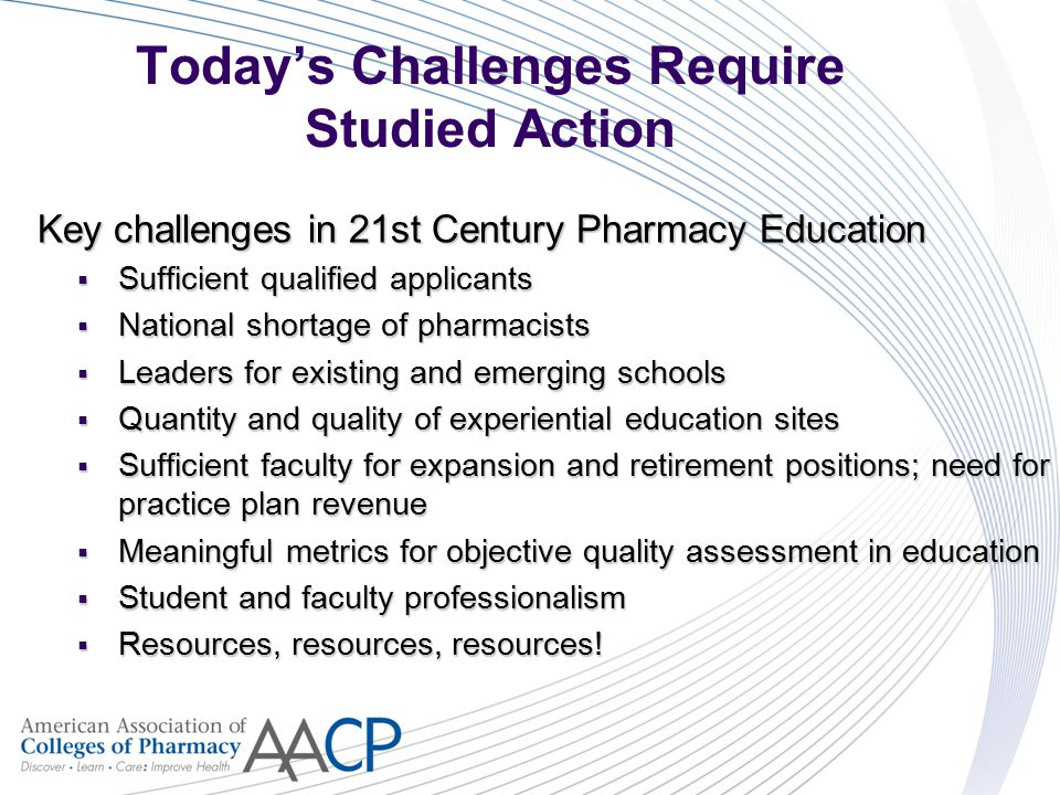 Today's Challenges Require Studied Action Key challenges in 21st Century Pharmacy Education  Sufficient qualified applicants  National shortage of pharmacists  Leaders for existing and emerging schools  Quantity and quality of experiential education sites  Sufficient faculty for expansion and retirement positions; need for practice plan revenue  Meaningful metrics for objective quality assessment in education  Student and faculty professionalism  Resources, resources, resources!