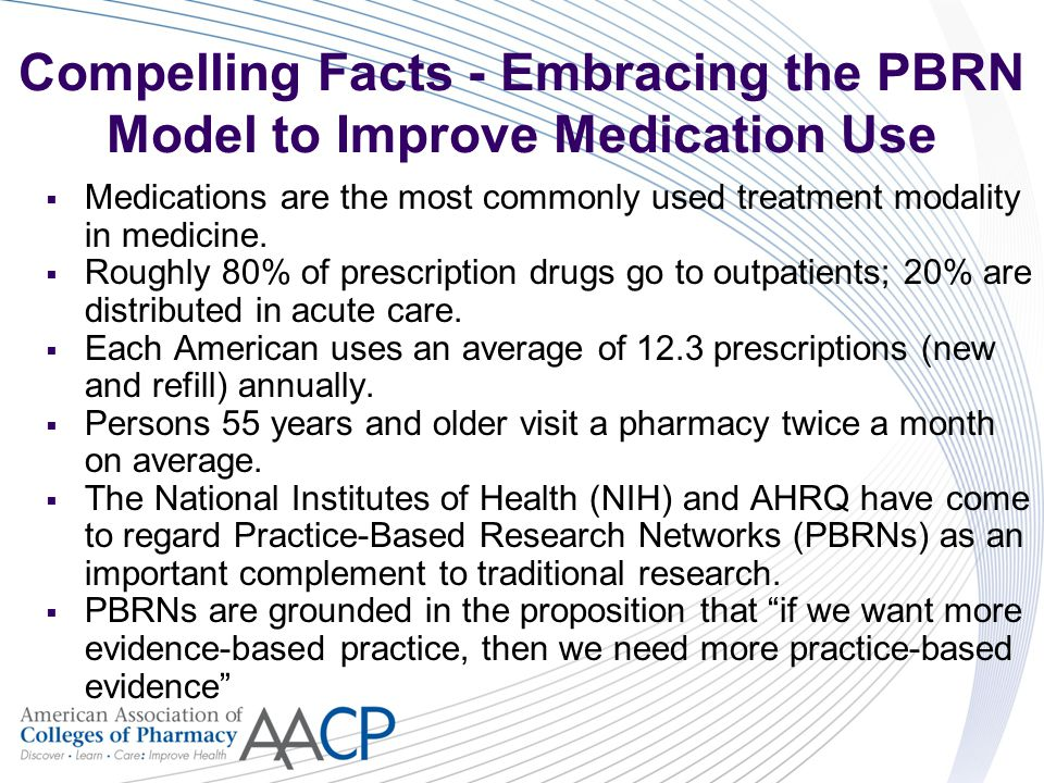 Compelling Facts - Embracing the PBRN Model to Improve Medication Use  Medications are the most commonly used treatment modality in medicine.