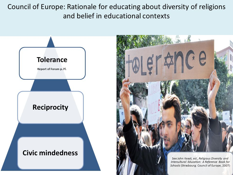 Council of Europe: Rationale for educating about diversity of religions and belief in educational contexts Tolerance Report of Forum p.7f.