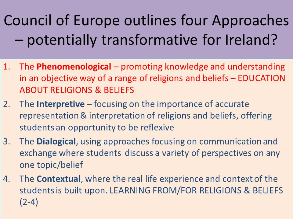 Council of Europe outlines four Approaches – potentially transformative for Ireland.
