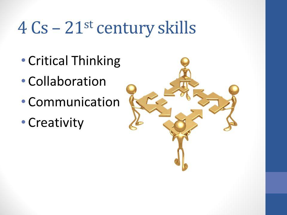4 Cs – 21 st century skills Critical Thinking Collaboration Communication Creativity
