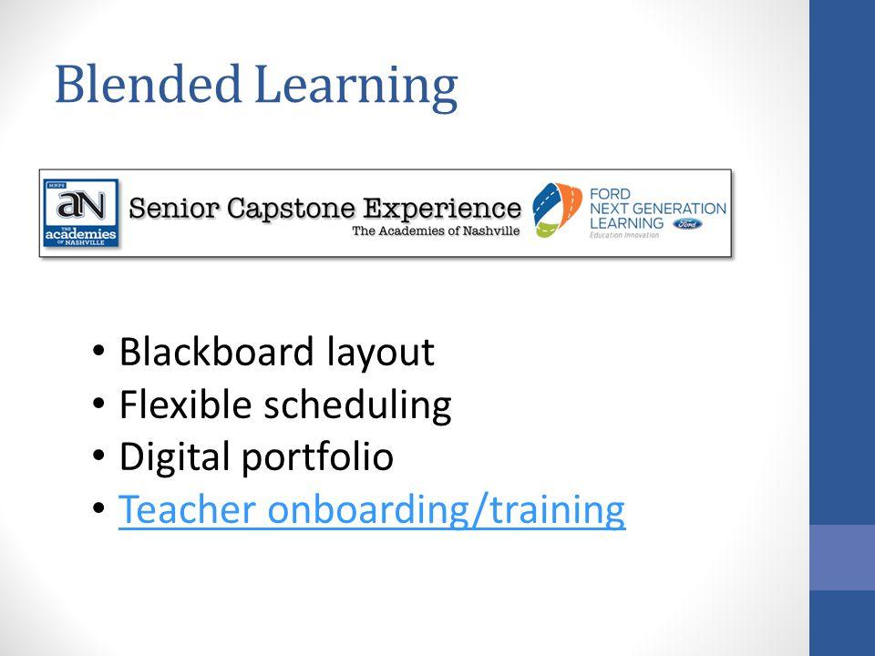 Blended Learning Blackboard layout Flexible scheduling Digital portfolio Teacher onboarding/training