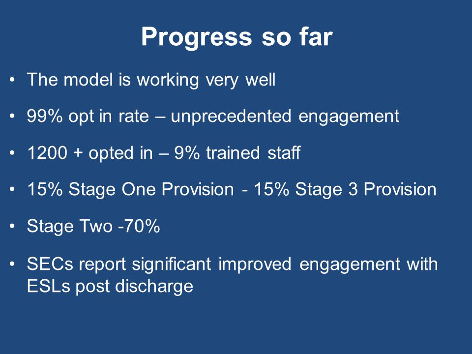 Progress so far The model is working very well 99% opt in rate – unprecedented engagement 1200 + opted in – 9% trained staff 15% Stage One Provision - 15% Stage 3 Provision Stage Two -70% SECs report significant improved engagement with ESLs post discharge