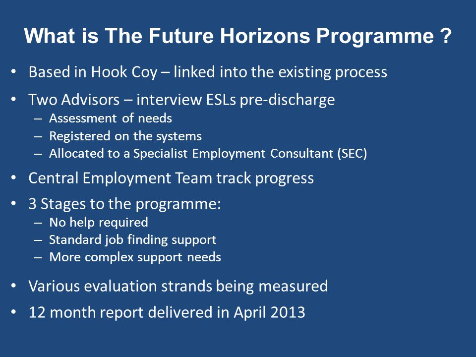 What is The Future Horizons Programme ? Based in Hook Coy – linked into the existing process Two Advisors – interview ESLs pre-discharge – Assessment