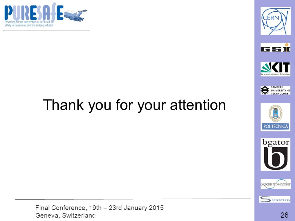 26 Final Conference, 19th – 23rd January 2015 Geneva, Switzerland Thank you for your attention