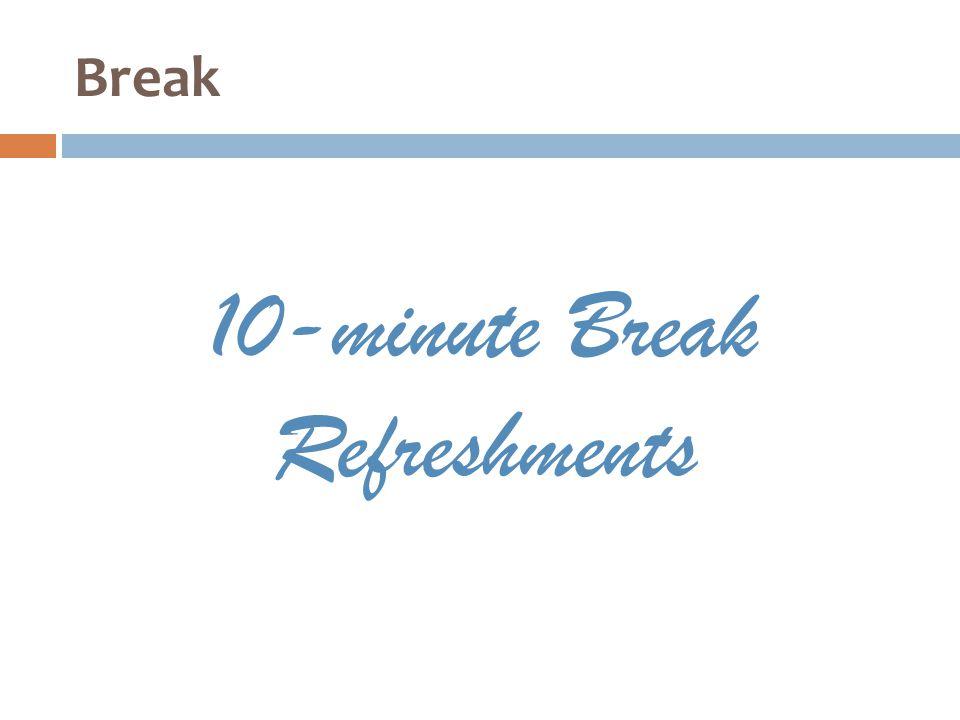 Break 10-minute Break Refreshments