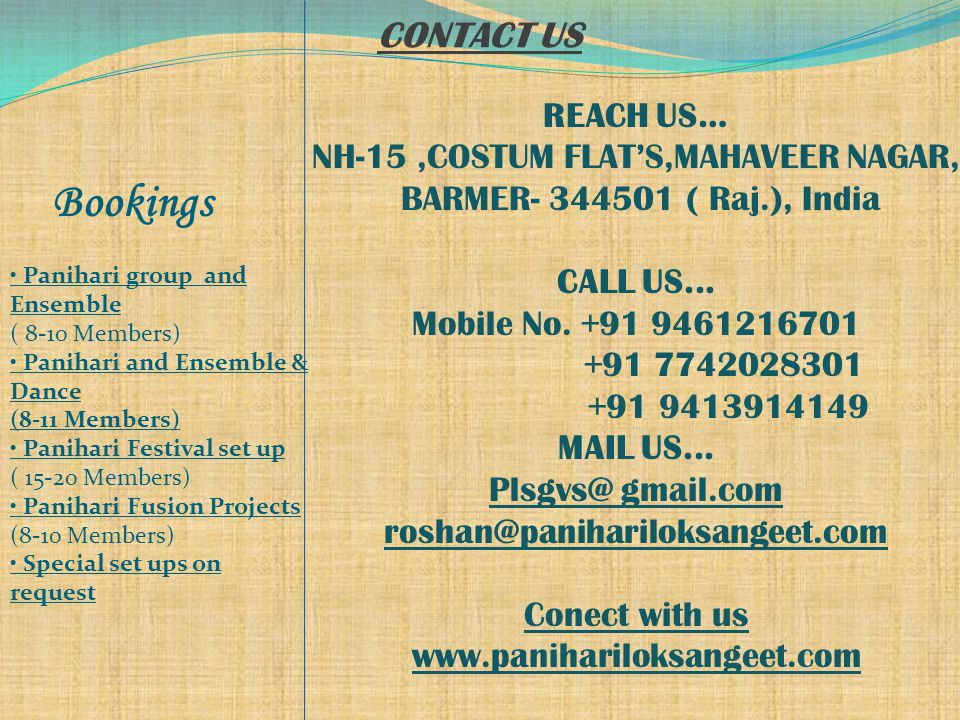 CONTACT US REACH US… NH-15,COSTUM FLAT'S,MAHAVEER NAGAR, BARMER- 344501 ( Raj.), India CALL US...
