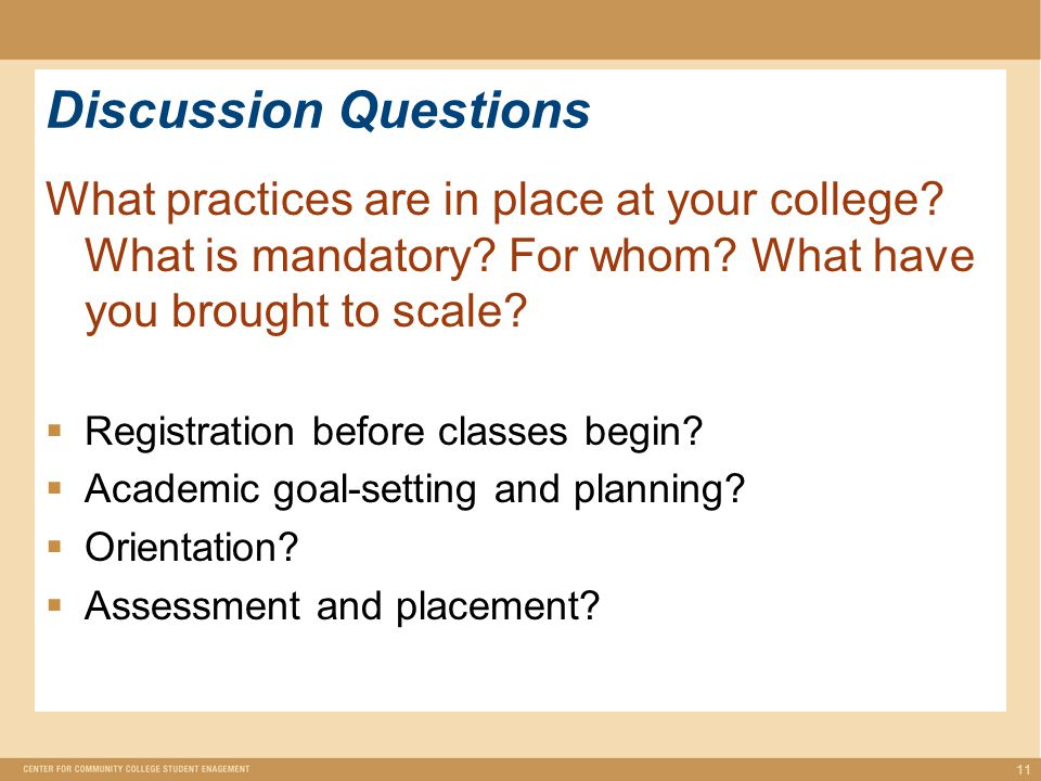 Discussion Questions What practices are in place at your college.