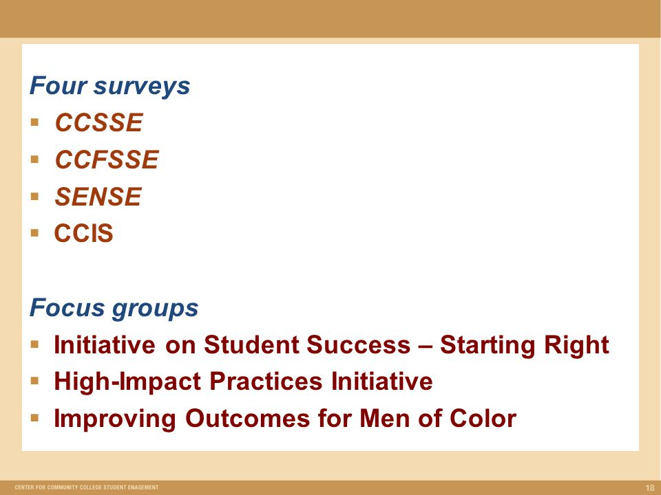 Four surveys  CCSSE  CCFSSE  SENSE  CCIS Focus groups  Initiative on Student Success – Starting Right  High-Impact Practices Initiative  Improving Outcomes for Men of Color 18