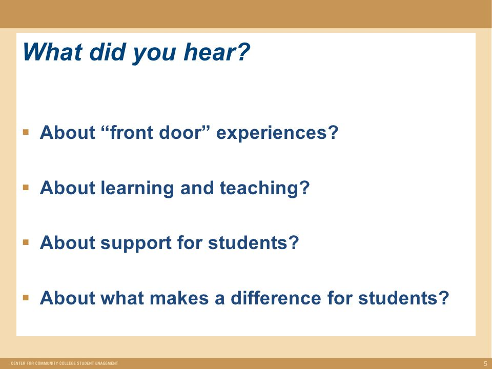 What did you hear.  About front door experiences.