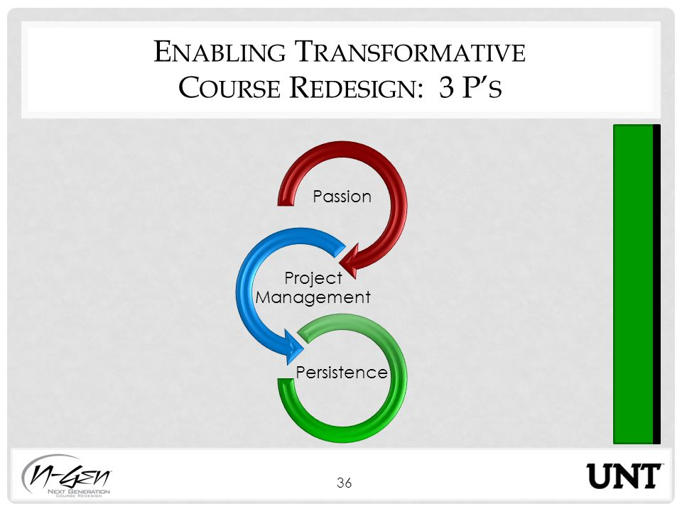 E NABLING T RANSFORMATIVE C OURSE R EDESIGN : 3 P' S Passion Project Management Persistence 36