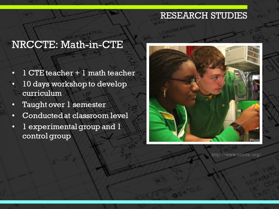 RESEARCH STUDIES NRCCTE: Math-in-CTE 1 CTE teacher + 1 math teacher 10 days workshop to develop curriculum Taught over 1 semester Conducted at classroom level 1 experimental group and 1 control group http://www.nrccte.org/