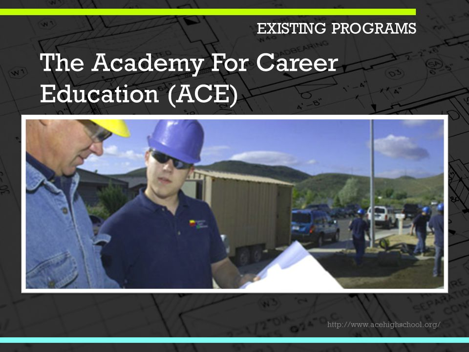 The Academy For Career Education (ACE) http://www.acehighschool.org/ EXISTING PROGRAMS