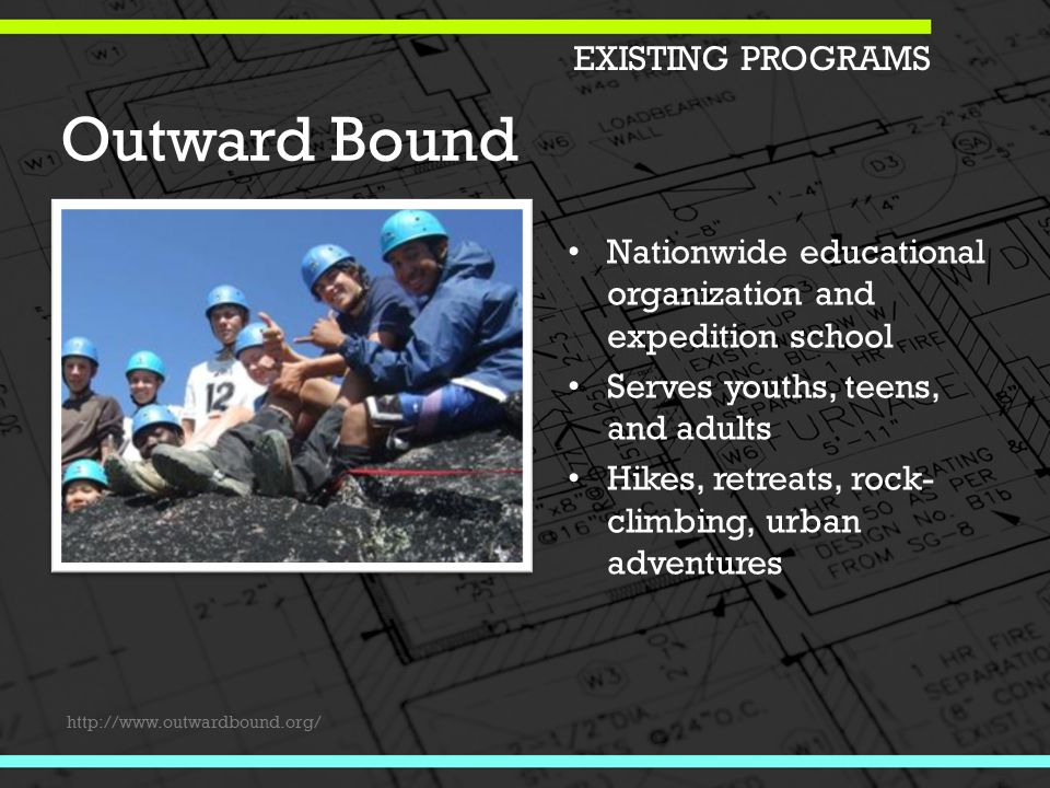 Outward Bound Nationwide educational organization and expedition school Serves youths, teens, and adults Hikes, retreats, rock- climbing, urban adventures EXISTING PROGRAMS http://www.outwardbound.org/