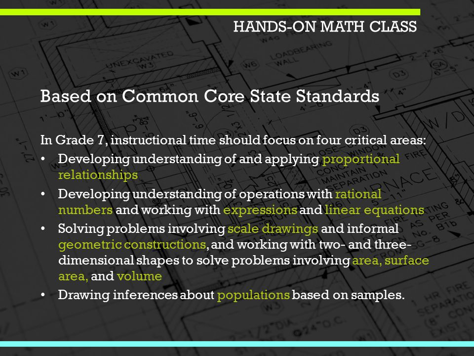 Based on Common Core State Standards In Grade 7, instructional time should focus on four critical areas: Developing understanding of and applying proportional relationships Developing understanding of operations with rational numbers and working with expressions and linear equations Solving problems involving scale drawings and informal geometric constructions, and working with two- and three- dimensional shapes to solve problems involving area, surface area, and volume Drawing inferences about populations based on samples.
