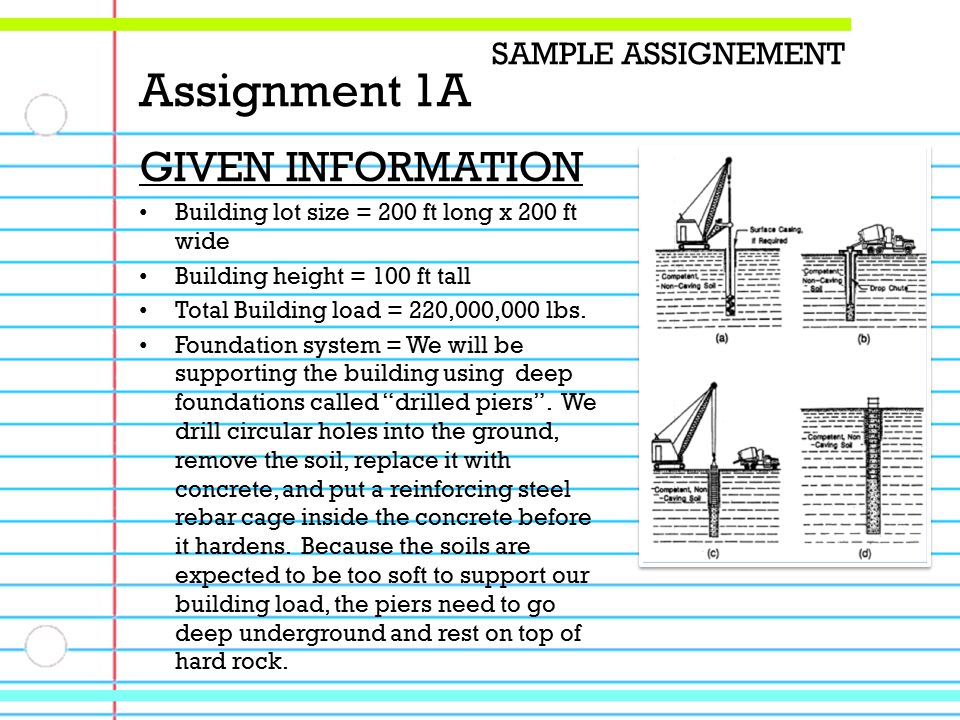 GIVEN INFORMATION Building lot size = 200 ft long x 200 ft wide Building height = 100 ft tall Total Building load = 220,000,000 lbs.