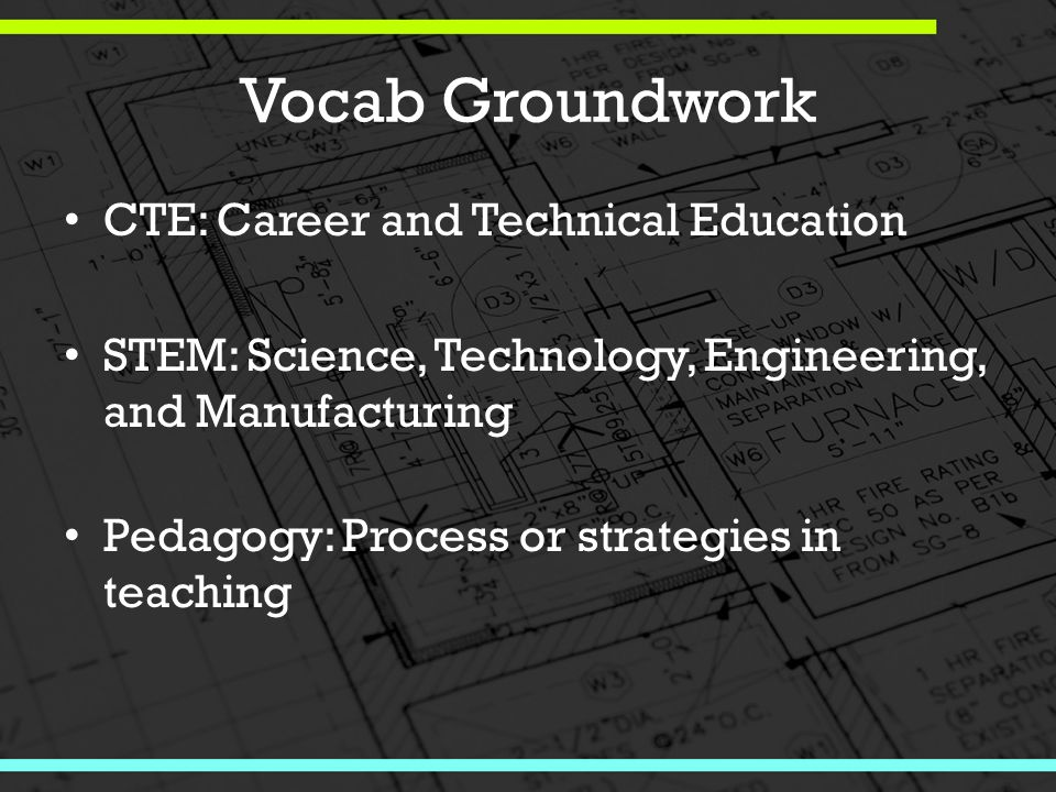 Vocab Groundwork CTE: Career and Technical Education STEM: Science, Technology, Engineering, and Manufacturing Pedagogy: Process or strategies in teaching