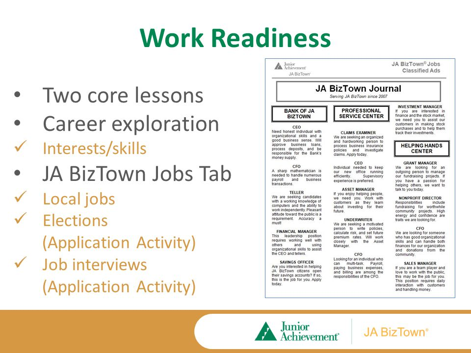 Work Readiness Two core lessons Career exploration Interests/skills JA BizTown Jobs Tab Local jobs Elections (Application Activity) Job interviews (Ap
