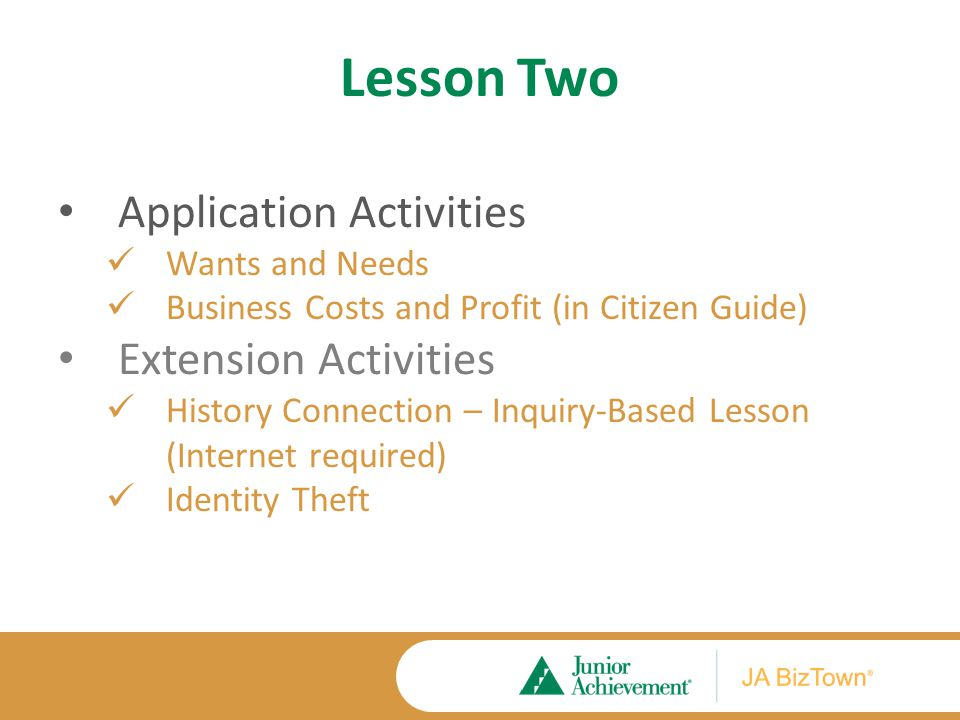 Lesson Two Application Activities Wants and Needs Business Costs and Profit (in Citizen Guide) Extension Activities History Connection – Inquiry-Based