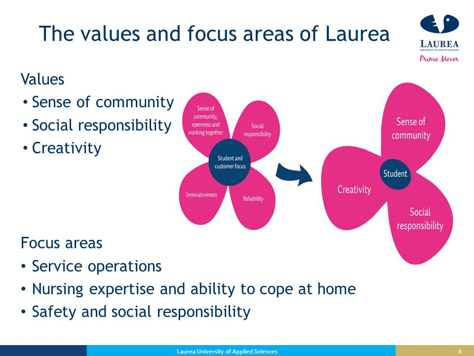 6 The values and focus areas of Laurea Values Sense of community Social responsibility Creativity Focus areas Service operations Nursing expertise and ability to cope at home Safety and social responsibility Laurea University of Applied Sciences