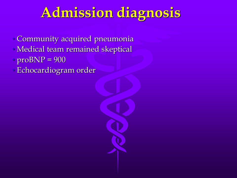 Community acquired pneumonia Community acquired pneumonia Medical team remained skeptical Medical team remained skeptical proBNP = 900 proBNP = 900 Ec