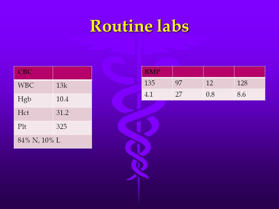 Routine labs CBC WBC13k Hgb10.4 Hct31.2 Plt325 84% N, 10% L BMP 1359712128 4.1270.88.6