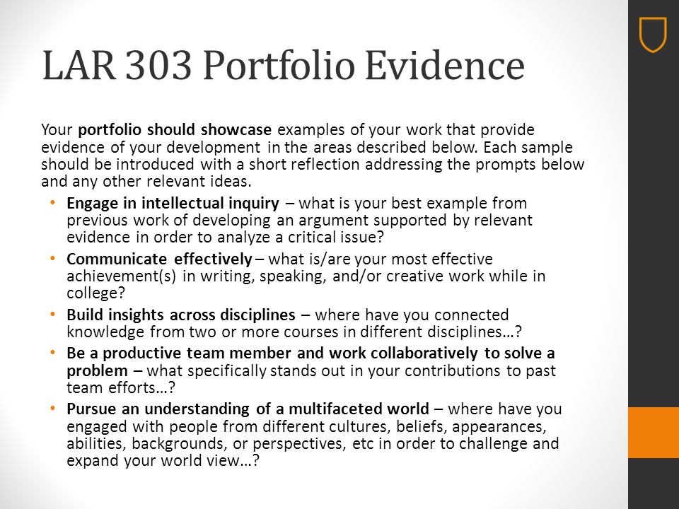 LAR 303 Portfolio Evidence Your portfolio should showcase examples of your work that provide evidence of your development in the areas described below.