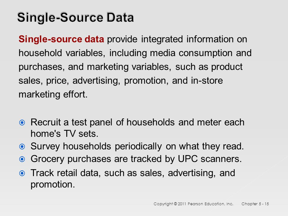 Single-source data provide integrated information on household variables, including media consumption and purchases, and marketing variables, such as