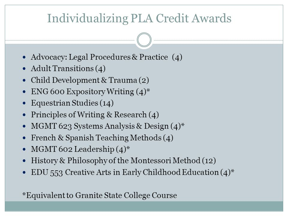 Individualizing PLA Credit Awards Advocacy: Legal Procedures & Practice (4) Adult Transitions (4) Child Development & Trauma (2) ENG 600 Expository Writing (4)* Equestrian Studies (14) Principles of Writing & Research (4) MGMT 623 Systems Analysis & Design (4)* French & Spanish Teaching Methods (4) MGMT 602 Leadership (4)* History & Philosophy of the Montessori Method (12) EDU 553 Creative Arts in Early Childhood Education (4)* *Equivalent to Granite State College Course