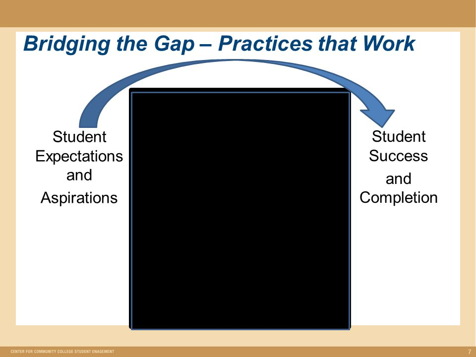 Bridging the Gap – Practices that Work Student Expectations and Aspirations 7 Student Success and Completion Planning for Success Initiating Success Sustaining Success