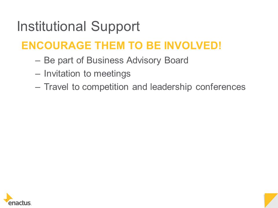 Institutional Support ENCOURAGE THEM TO BE INVOLVED.