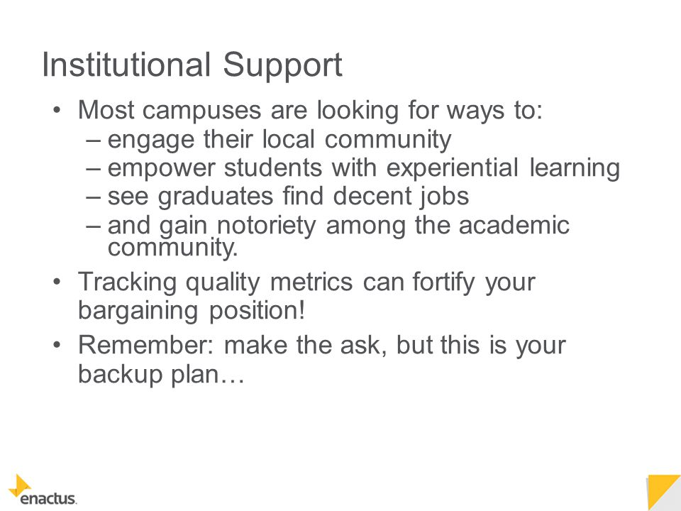 Institutional Support Most campuses are looking for ways to: –engage their local community –empower students with experiential learning –see graduates find decent jobs –and gain notoriety among the academic community.