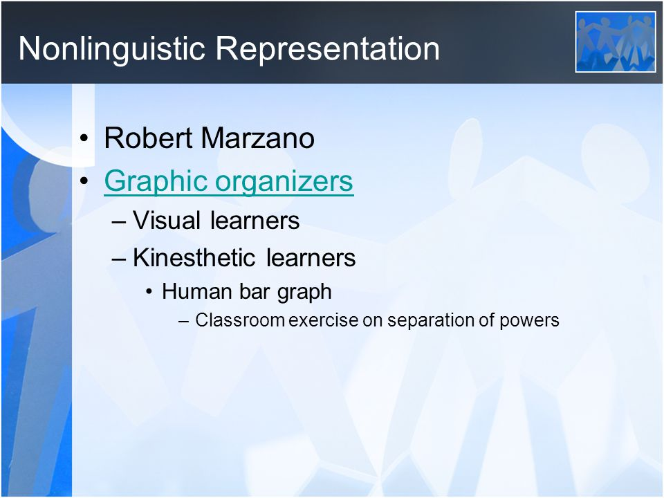 Nonlinguistic Representation Robert Marzano Graphic organizers –Visual learners –Kinesthetic learners Human bar graph –Classroom exercise on separation of powers