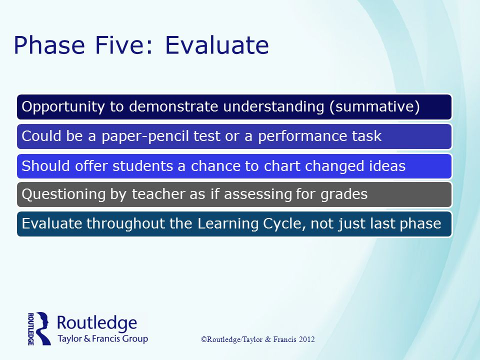Phase Five: Evaluate Opportunity to demonstrate understanding (summative)Could be a paper-pencil test or a performance taskShould offer students a chance to chart changed ideasEvaluate throughout the Learning Cycle, not just last phaseQuestioning by teacher as if assessing for grades ©Routledge/Taylor & Francis 2012