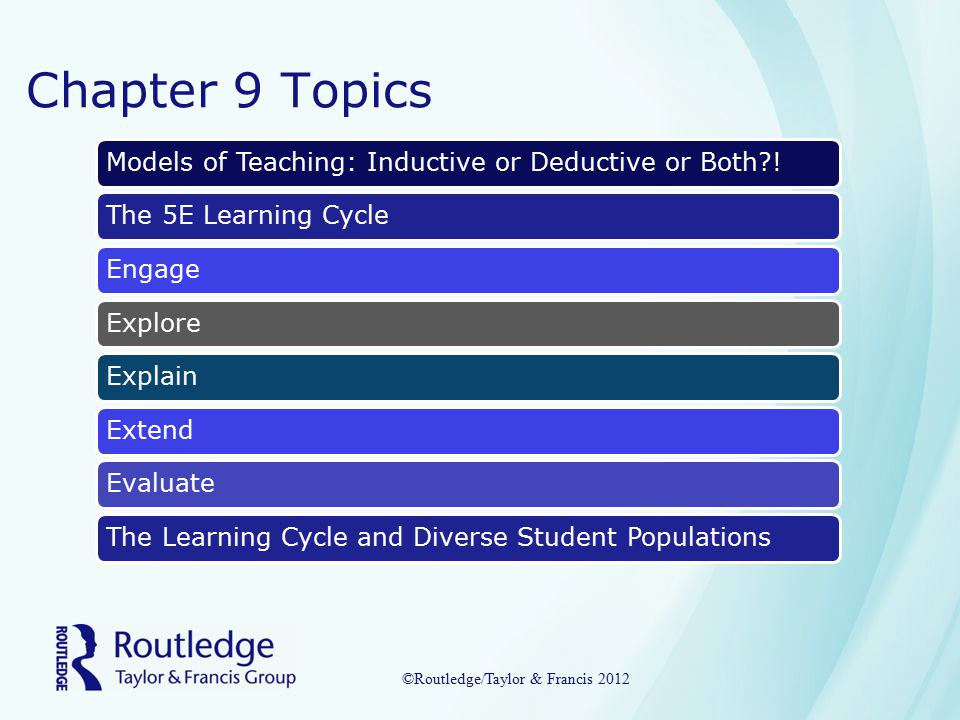 Chapter 9 Topics Models of Teaching: Inductive or Deductive or Both !The 5E Learning CycleEngageExploreExplainExtendEvaluateThe Learning Cycle and Diverse Student Populations ©Routledge/Taylor & Francis 2012