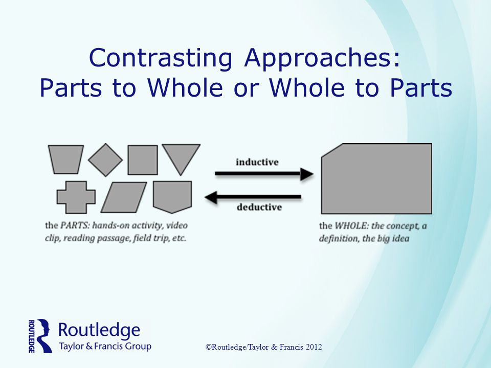 Contrasting Approaches: Parts to Whole or Whole to Parts ©Routledge/Taylor & Francis 2012