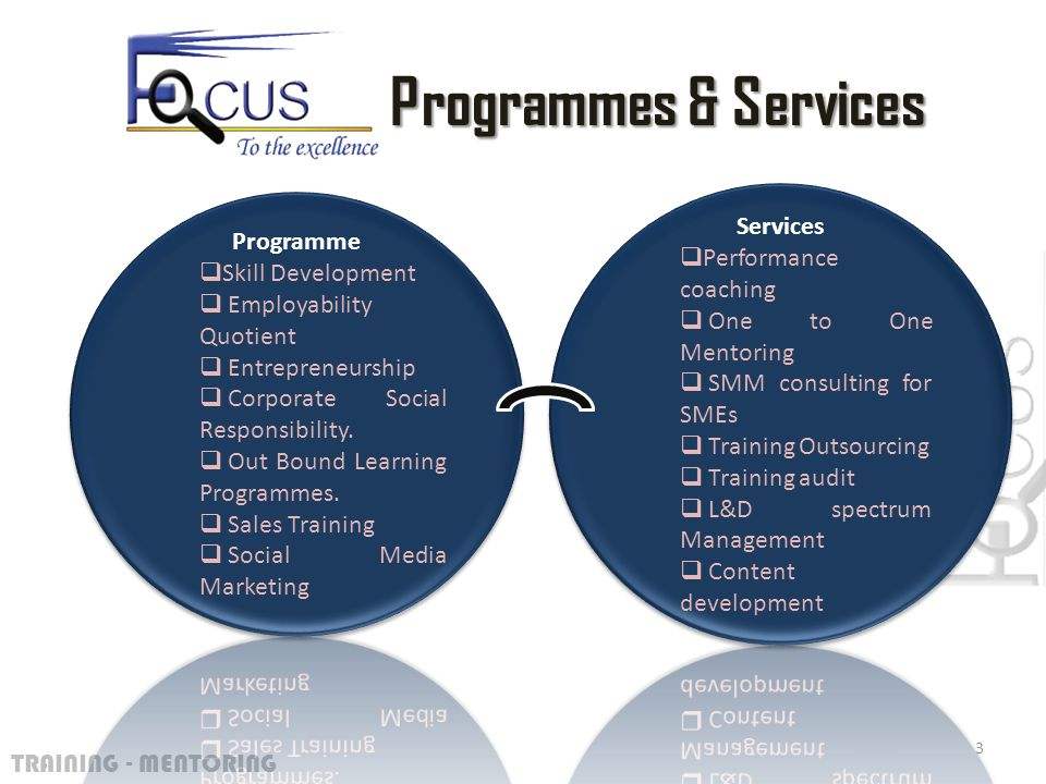 TRAINING - MENTORING 3 Programmes & Services